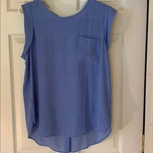 Loft blue and cream print blouse